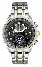 Seiko Men's Prospex World Time Solar Chronograph Silvertone Watch