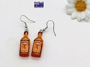 3D Mini FIREBALL Style Cinnamon Whiskey Bottle Novelty Earrings Dress Accessory