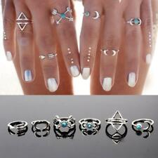 6pcs Fashion Punk Knuckle Joint Turquoise Arrow Moon Midi Rings Set Jewelry