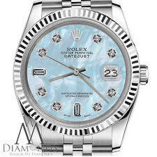 Rolex 26mm Datejust Baby Blue MOP Mother Of Pearl 18K & SS 8+2 Diamonds Watch