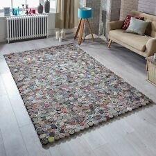 Sushi Hand Crafted Statement Rug Multi Colour Felted Wool Polyester 160X235cm