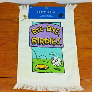 "Vintage 80s Golf Hand Towel Bye Bye Birdies Hallmark USA 11 x 17"" NEW Cannon"