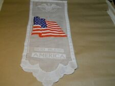 "Wall Hanging Lace Banner w/ Eagle and Flag ~ ""God Blass America"""