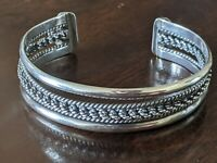 TAXCO LMH Mexico 925 Sterling Silver Designer Braided Cuff Bracelet 27 Grams