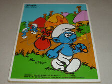 VINTAGE PLAYSKOOL SMURF WOODEN FRAME TRAY PUZZLE 1982 COMPLETE PEYO WALLACE