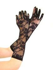 STRETCH Lace ELBOW Length Gloves - BLACK