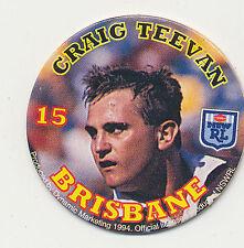1994 Coca Cola Queensland Rugby League Craig Teevan # 15 Brisbane Pog
