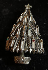 Tree Pendant W/Snow Covered Candles Vintage Costume Jewelry - Christmas