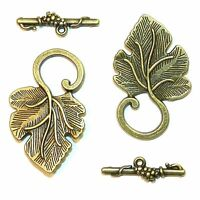 ML948 Antiqued Bronze 38mm Grape Leaf Fancy Toggle Clasp with 25mm Bar 10pc