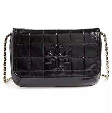 TORY BURCH MARION QUILTED PATENT CLUTCH BLACK NWT $425 & GIFT BAG -32159753