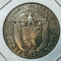 1947 PANAMA SILVER 1/2  BALBOA NICE COIN