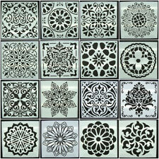 Pochoir Mandala ou fleur ou carreau de ciment 15x15cm modèle au choix plastique