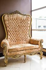 Gold Champagne Throne Chair Wedding Tub Armchair French Rococo Crystals 2 Seater