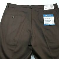 Haggar Classic Fit Premium No Iron Brown Khaki Mens  Pants Size W36 X 34 NWT