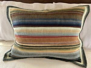 Standard Quilted Pillow Sham Striped Earth Tones 100% Cotton/Tan Polyester Back