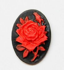 6 of 18x13 mm Red over Black Rose & Bud Cameos, 4 Pendants, Bracelets, or Rings