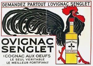 Original vintage poster HUGE SENGLET COGNAC ROOSTER c.1910 HUGE