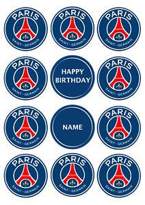 Paris SG FC Football CupcakeToppers | Icing Sheet / Wafer Paper | Edible Print