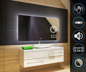 Badspiegel mit LED Beleuchtung Lichtspiegel Badezimmer SCHALTER WETTER MAKE-UP