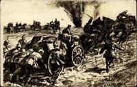 1. Weltkrieg Künstler-AK Militaria Soldaten bei der Munitionszufur Soldiers Art