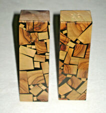 Vintage Hand Crafted Mosaic Olive Wood Salt & Pepper Shakers Israel