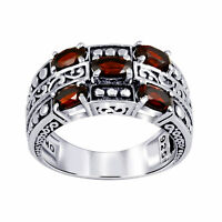 1.49 Carat Natural Red Garnet 925 Sterling Silver 5-Stone Ring For Women -1198