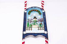 """Fiber Optic Snowman Metal Sleigh Christmas Scene Holiday Hanging Decor 19"""""""