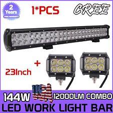 23Inch 144W CREE LED Light Bar SPOT FLOOD COMBO Offroad+2X4Inch 18W Spot  Lights