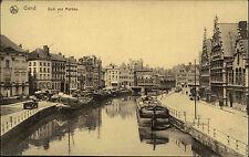 Gand Gent Belgien Feldpostkarte 1917 Quai aux Herbes Partie am Kai Schiffe