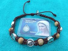 Christian Brown Olive Wood Prayer Bracelet Our Lady Jesus medals from Medjugorje