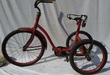 Vintage 44 inch Colson Large Child Sized Red Trike Tricycle  Hard Rubber Tires