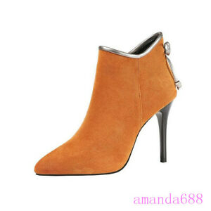 Womens Ladies Suede Fabric High Heels Party Shoes Bowtie Winter Ankle Boots Size