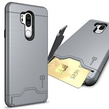 Gray Hybrid Case For LG G7 ThinQ Kickstand Credit Card Holder Slot Phone Cover