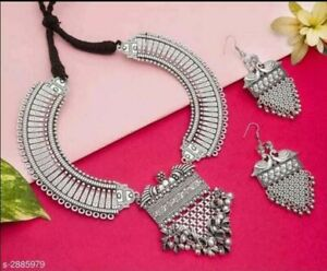 Indian Ethnic Oxidized Choker Necklace Indian Jewelry matching earrings
