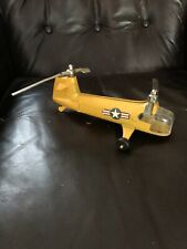 1950s Yellow Die-Cast Hubley Metal Two Rotor Military Helicopter As Is