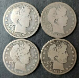 1893, 1894, 1894 O, and 1899 50c Barber Silver Half Dollars