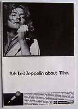 LED ZEPPELIN 1970 Poster Ad SHURE MICROPHONE robert plant