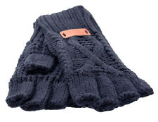 Aran Traditions Womens Ladies Winter Warm Fingerless Navy Blue Gloves
