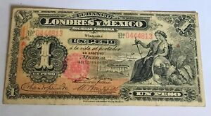 1914 MÉXICO $1 PESO BANCO DE LONDRES Y MEXICO SA