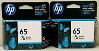 New Genuine HP 65 Color 2PK Ink Cartridges Deskjet 2622 2635 3730 Envy 5010