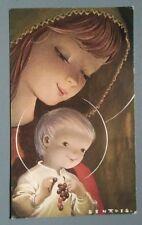 tarjeta felicitacion navidad VIRGEN CON NIÑO años 70 holy card chritsmas