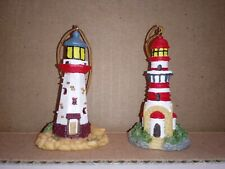"""Miniature Light House Ornaments Set of 2 Approx 2"""" Tall"""