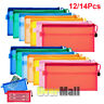 12/14x Pencil Pen Case Zipper Pouch Cosmetic Bag Storage Stationery Waterproof