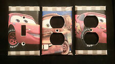 CARS MOVIE LIGHT SWITCH COVER AND OUTLET PLATES, ADORABLE! -FREE SHIPPING