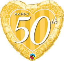 """Qualatex Golden 50th Anniversary Damask Heart 18"""" Foil Balloon"""