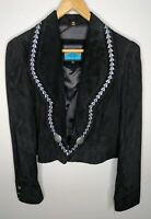 NWT Pioneer Wear Vintage Black Suede Leather Cropped Western Jacket Womens Sz L