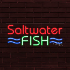 "Brand New ""Saltwater Fish"" w/Border 32x13X1 Inch Led Flex Indoor Sign 31471"