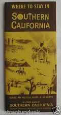 Booklet For Where To Stay In Southern California Hotels, Motels & Resorts 60/70'