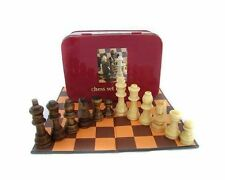 MINI CHESS SET IN A TIN BRAND NEW APPLES TO PEARS GREAT GIFT WOODEN PIECES