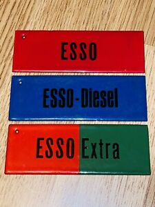 ++ RARITÄT 3 tolle kleine Emailleschilder Esso Extra Diesel Tankst Zapfsäule ++